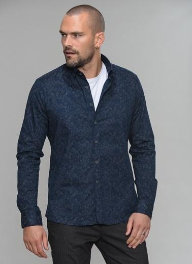 People By Fabrika Likralı Gömlek Lacivert